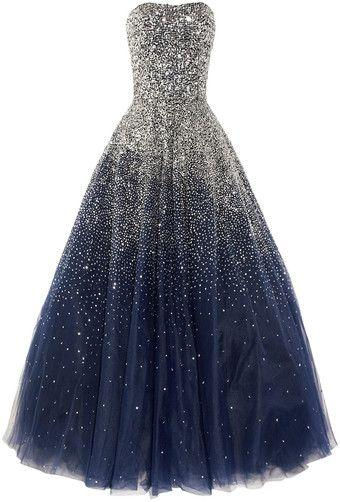 Strapless Navy Sparkly A-line Long Evening Prom Dresses, Cheap Custom Sweet 16 Dresses, 18544