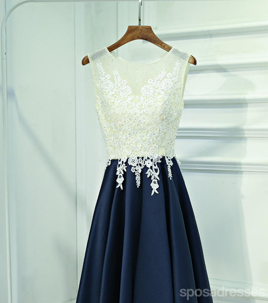 See Through Lace Navy Skirt Short Homecoming Prom Dresses, Affordable Corset Back Short Party Prom Dresses, Perfect Homecoming Dresses, CM244