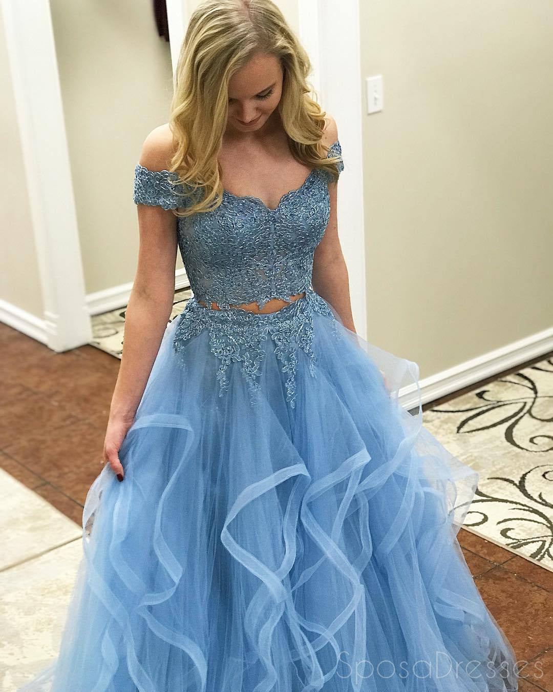 Off Shoulder Two Pieces Light Blue A line Long Evening Prom ...