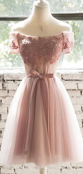 Short Sleeves Off Shoulder Blush Pink Cheap Homecoming Dresses Online, Cheap Short Prom Dresses, CM740