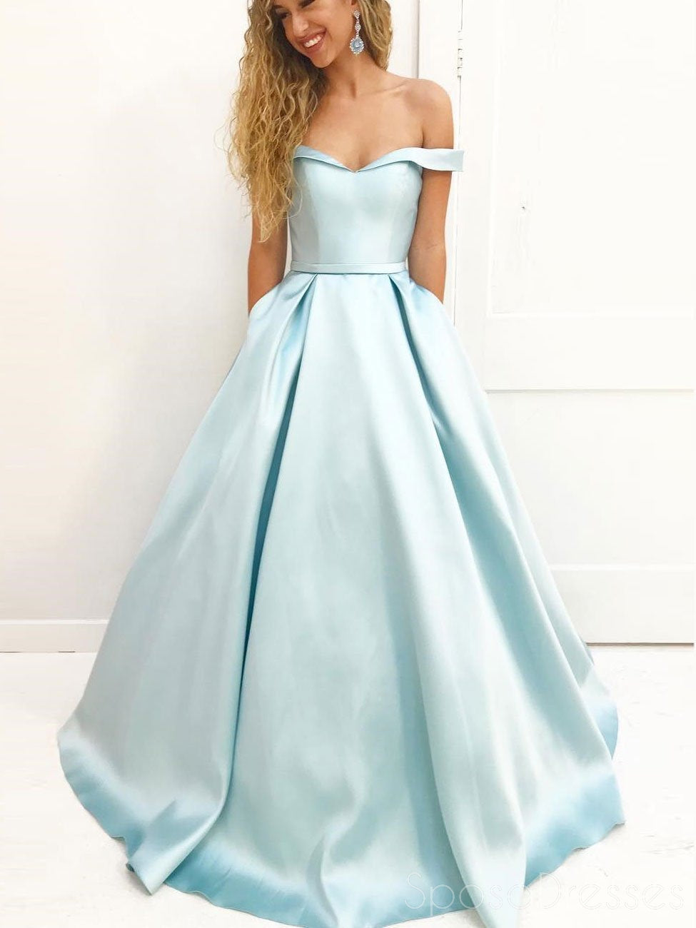 Simple Off Shoulder Tiffany Blue Satin A line Long Custom Evening ...