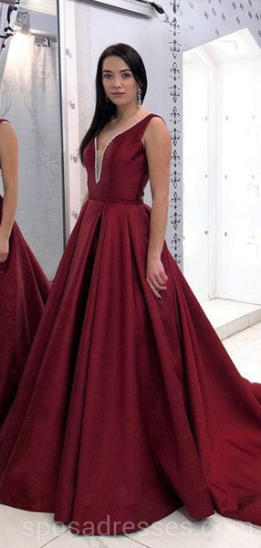 Sexy Backless Maroon Simple Long Evening Prom Dresses, Cheap Custom Party Prom Dresses, 18581
