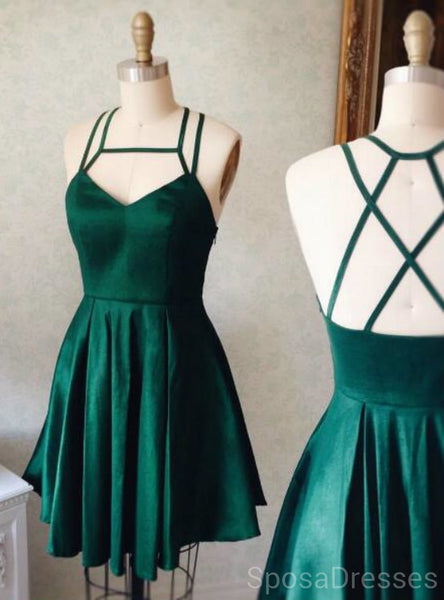Emerald Green Cross Back Short Homecoming Dresses Online, Cheap Short Prom Dresses, CM839