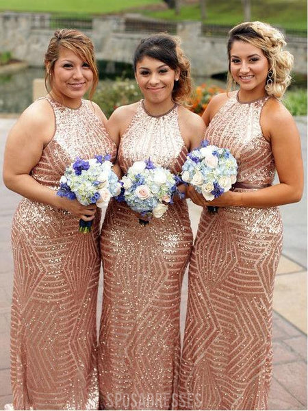 Gold Sequin Mermaid Halter Cheap Long Bridesmaid Dresses Online, WG283