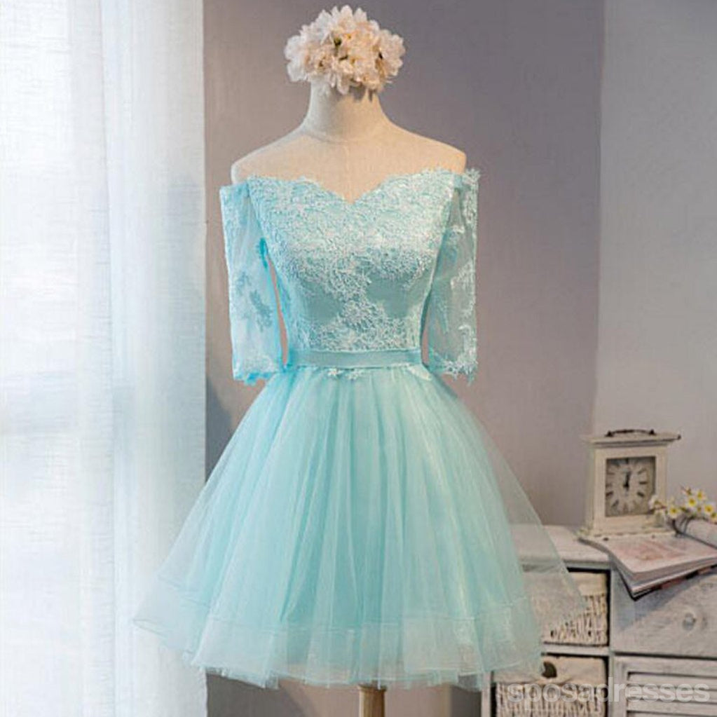 Long Sleeve Mint Lace Tulle Short Homecoming Prom Dresses ...