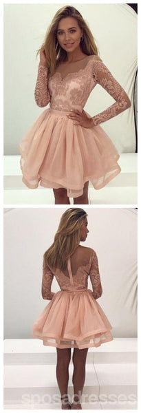Lace Long Sleeves Illusion Short Cheap Homecoming Dresses 2018, CM545