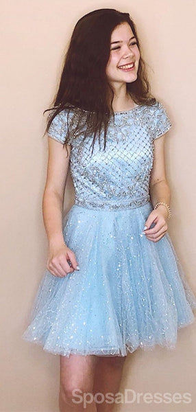 Short Sleeves Blue Sequin Sparkly Cheap Short Homecoming Dresses Online, Cheap Short Prom Dresses, CM831