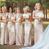 Gold Sequin Short Sleeve Mermaid Long Bridesmaid Dresses, BD001