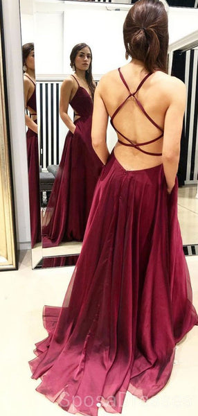 Sexy Backless V Neck Maroon Long Evening Prom Dresses, Cheap Custom Sweet 16 Dresses, 18454