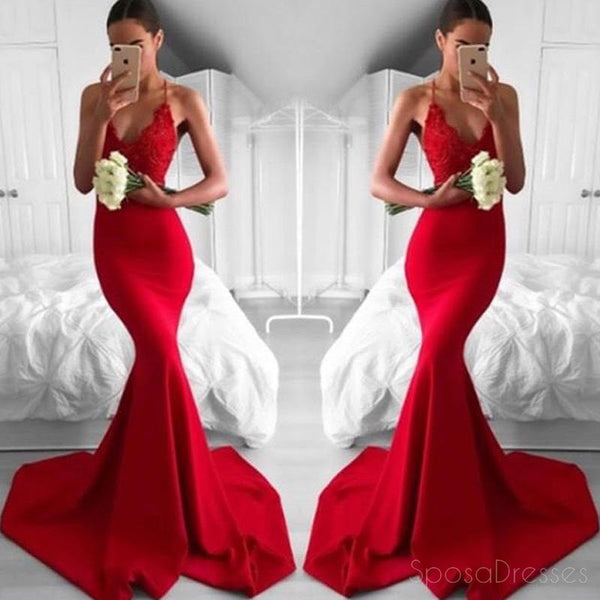 edd88d81 Sexy Red Mermaid Lace Evening Prom Dresses, Popular Bright Red Party P –  SposaDresses