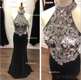 Sexy Open Back Halter Heavily Beaded Black Mermaid Long Evening Prom Dresses, Popular Cheap Long 2018 Party Prom Dresses, 17278