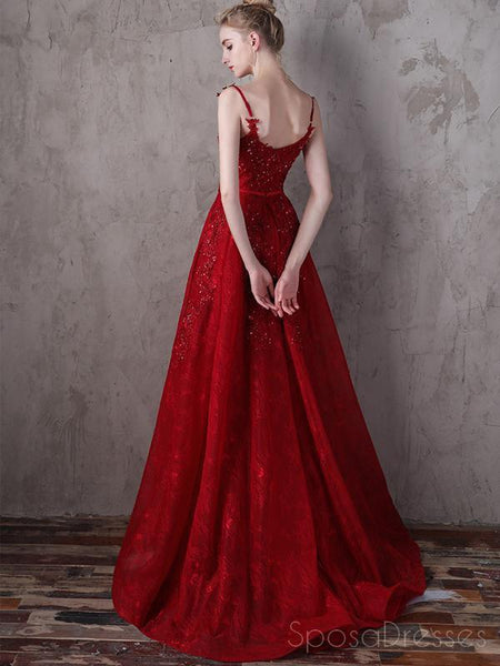 Lace Straps Dark Red A-line V-neck Cheap Long Evening Prom Dresses, Evening Party Prom Dresses, 18645