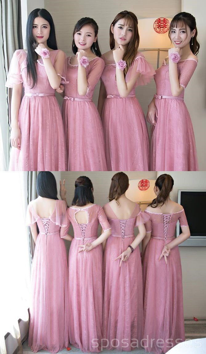 Cute Pink Lace Tulle Long Bridesmaid Dresses, Mismatched Custom Long ...