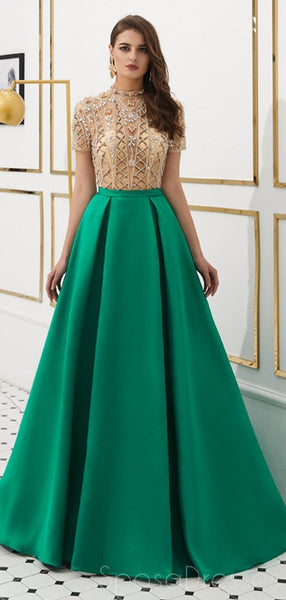 See Through Short Sleeves High Neck Beaded Evening Prom Dresses, Evening Party Prom Dresses, 12080