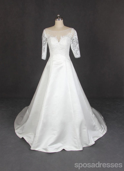 Long Sleeve Lace Tulle Wedding Dresses, Custom Made Long Wedding Gown, Cheap Wedding Gowns, WD202