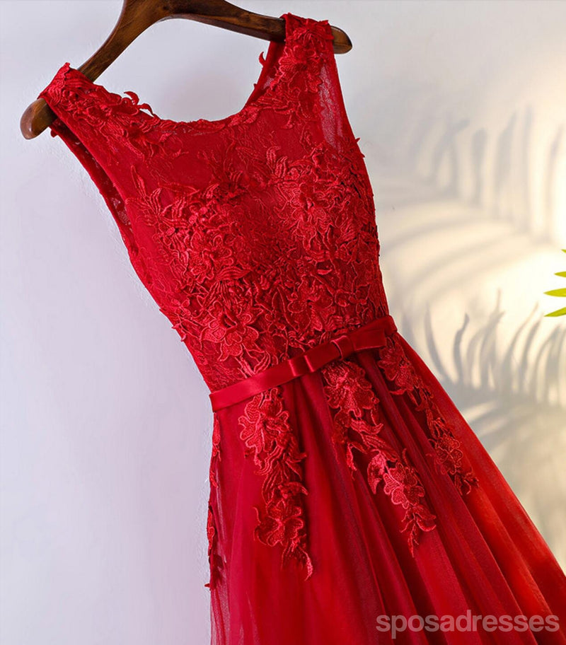 Red Lace Round Neckline Short Homecoming Prom Dresses, Affordable Corset Back Short Party Prom Dresses, Perfect Homecoming Dresses, CM245