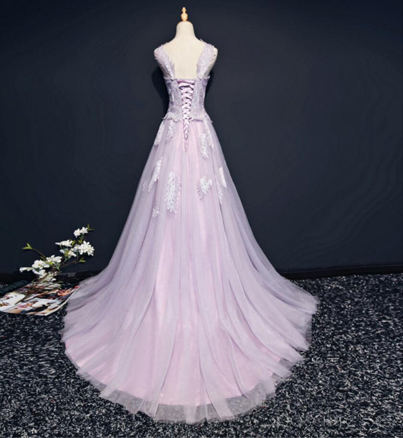 Lilac Cap Sleeve Straight Neckline Lace Long Evening Prom Dresses, Popular 2018 Party Prom Dresses, Custom Long Prom Dresses, Cheap Formal Prom Dresses, 17214