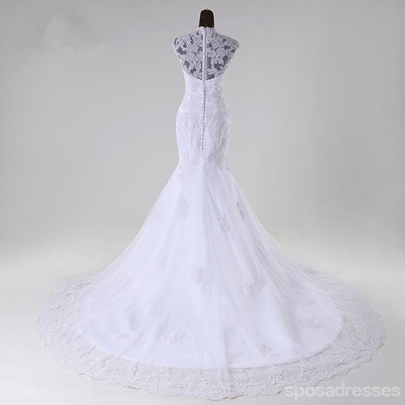 High neckline see through lace mermaid wedding bridal dresses high neckline see through lace mermaid wedding bridal dresses custom made wedding dresses affordable junglespirit Gallery