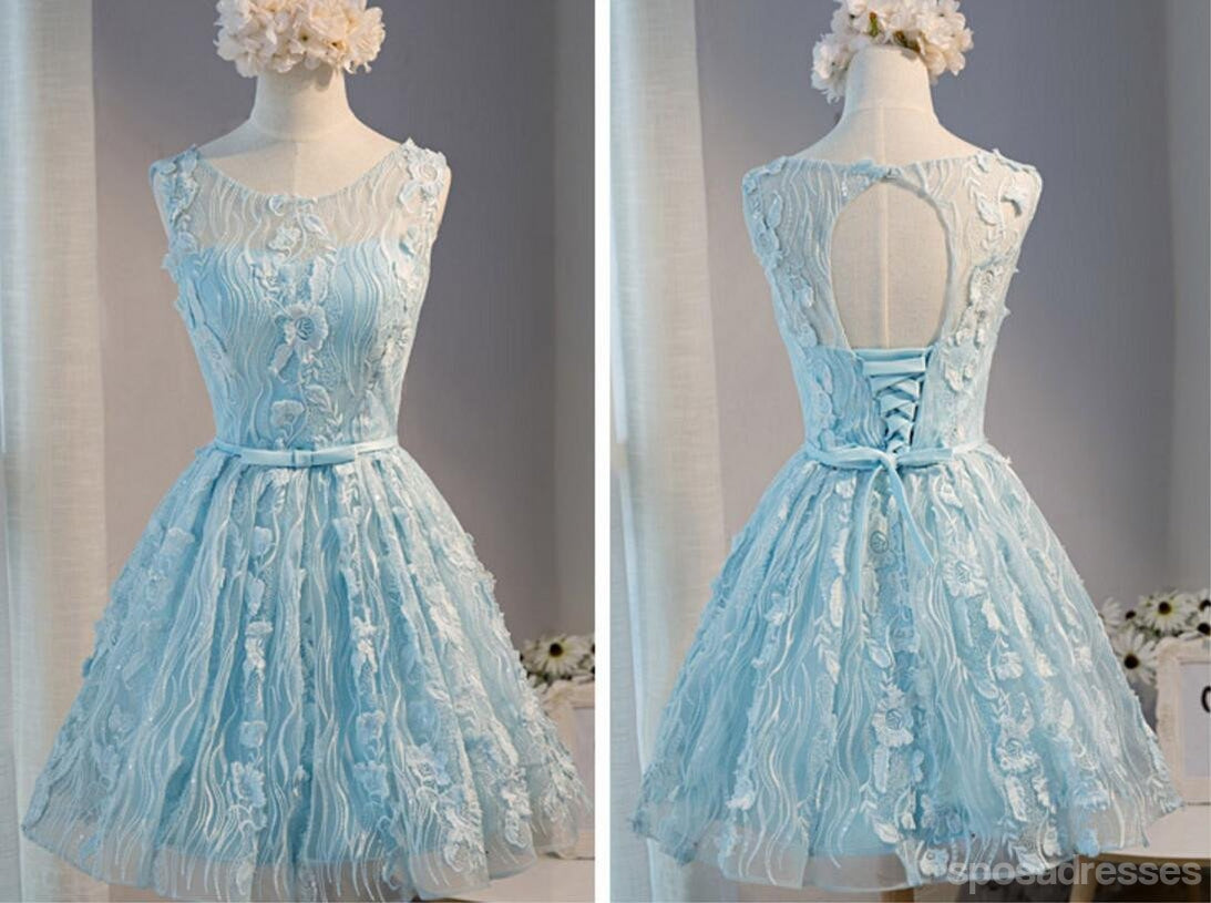 Tiffany Blue Open back Lace Cute Homecoming Prom Dresses ...