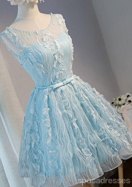 Tiffany Blue Open back Lace Cute Homecoming Prom Dresses, Affordable Short Party Prom Dresses, Perfect Homecoming Dresses, CM313