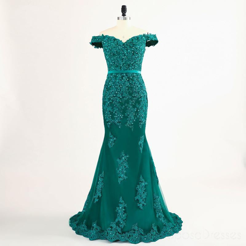 Off Shoulder Green Lace Beaded Mermaid Evening Prom Dresses, Popular Unique Party Prom Dress, Custom Long Prom Dresses, Cheap Formal Prom Dresses, 17174