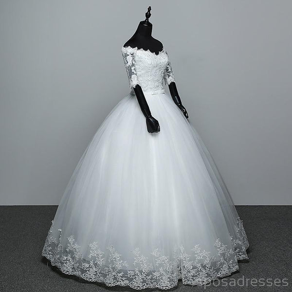 Off Shoulder Long Sleeves Ball Gown Cheap Wedding Dresses Online, Cheap Bridal Dresses, WD497