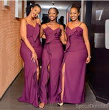 Mismatched Purple Side Slit Cheap Long Cheap Bridesmaid Dresses Online, WG675