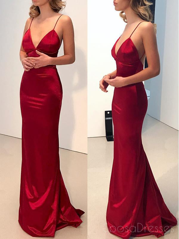 Sexy Backless Spaghetti Straps Red Mermaid Long Evening Prom Dresses, 17584