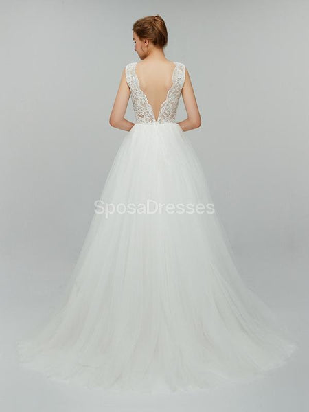 Sexy Backless Simple V-Neck Cheap Wedding Dresses Online, Cheap Bridal Dresses, WD552