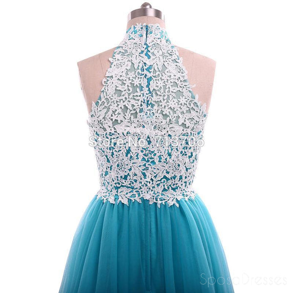 Turquoise Tulle Lace A line Evening Prom Dresses, Popular Unique Party Prom Dress, Custom Long Prom Dresses, Cheap Formal Prom Dresses, 17175