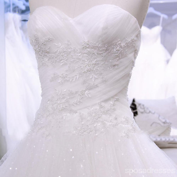 Strapless Sparkly Long A line Wedding Bridal Dresses, Affordable Custom Made Wedding Bridal Dresses, WD270