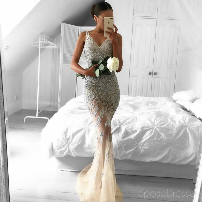 Sexy Backless V Neck A line Flower Long Evening Prom Dresses, 17602