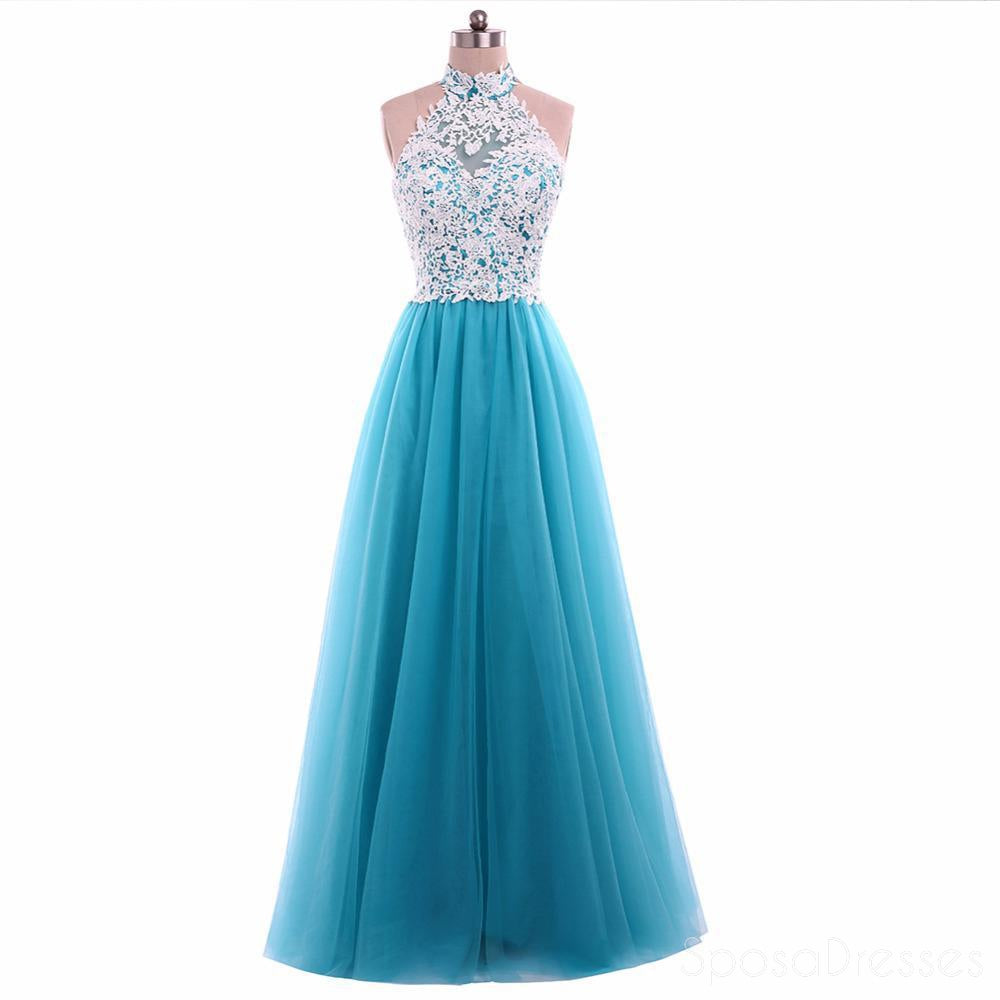 Turquoise Tulle Lace A line Evening Prom Dresses, Popular Unique ...