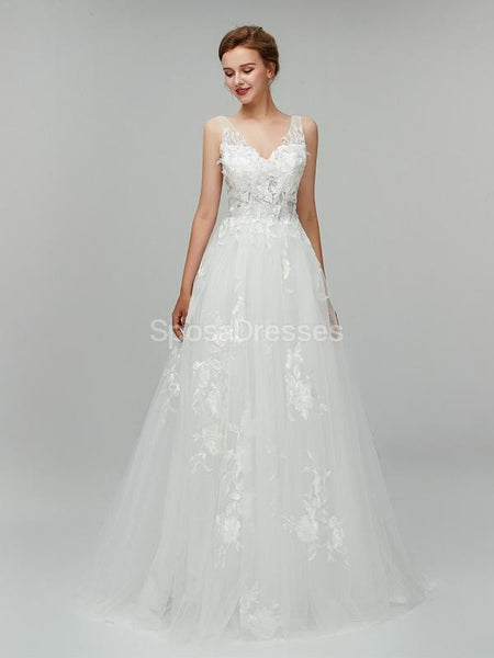 Sexy Backless Lace V Neck Cheap Wedding Dresses Online, Cheap Bridal Dresses, WD553