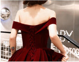 Simple Off Shoulder Dark Red Cheap Homecoming Dresses Online, Cheap Short Prom Dresses, CM776