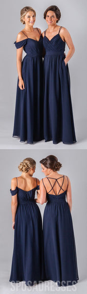 Mismatched Chiffon Navy Blue Floor-Length A Line Sexy Bridesmaid Dresses, WG52