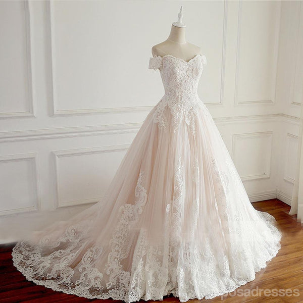Off Shoulder Short Sleeve Lace A line Wedding Bridal Dresses, Affordable Custom Made Wedding Bridal Dresses, WD271