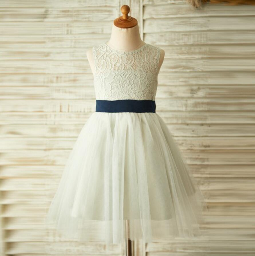 Shop stylish flower girl dress online sposadresses ivory beautiful lace and tulle sleeveless scoop cheap flower girl dresses with bow fg0087 izmirmasajfo Choice Image