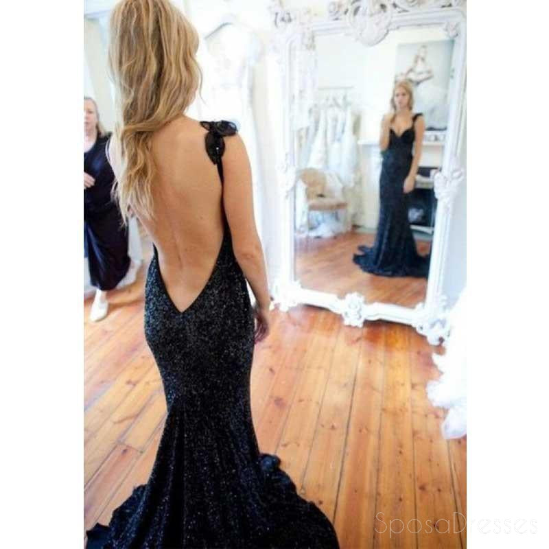 Black Sequin Mermaid Evening Prom Dresses,  Sexy Backless Party Prom Dress, Custom Long Prom Dress, Cheap Party Prom Dress, Formal Prom Dress, 17024