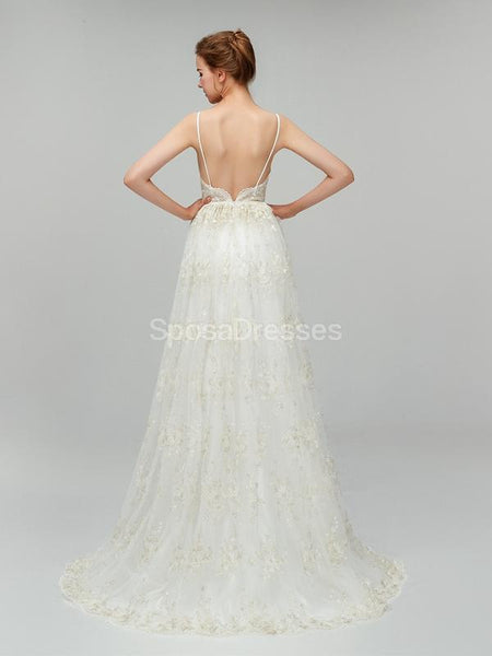 Spaghetti Straps Backless Lace Cheap Wedding Dresses Online, Cheap Bridal Dresses, WD554