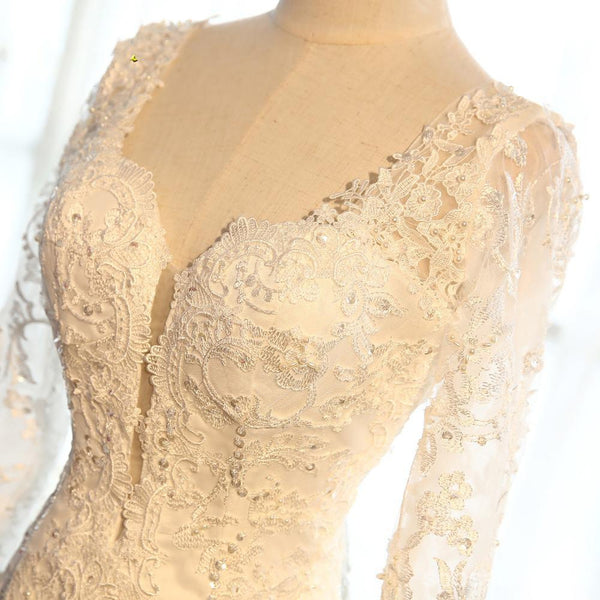 Sexy Backless Long Sleeve Lace Mermaid Wedding Bridal Dresses, Cheap Custom Made Wedding Bridal Dresses, WD272