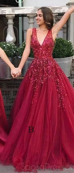 Dark Red V Neck A-line Tulle Long Evening Prom Dresses, Evening Party Prom Dresses, 12179