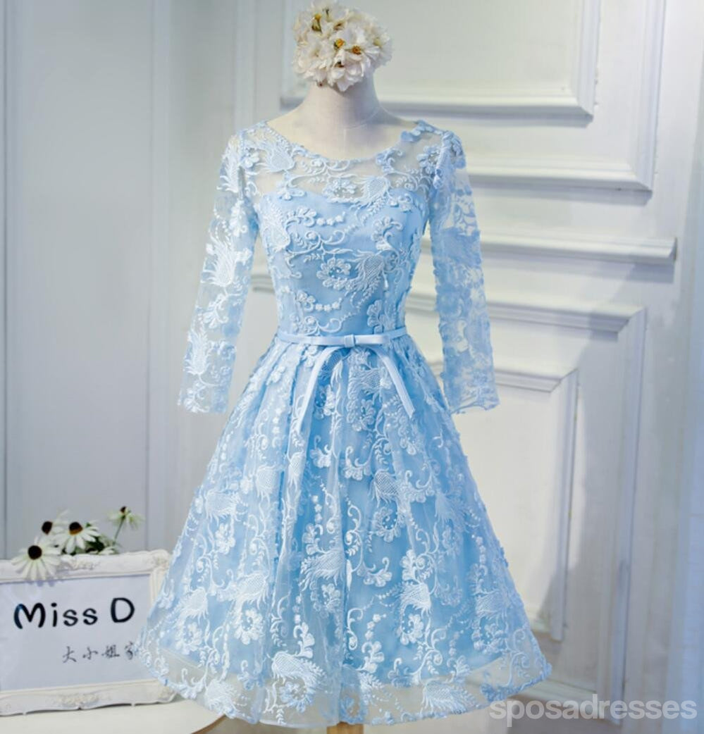 Long Sleeve Blue Open back Lace Cute Homecoming Prom Dresses ...