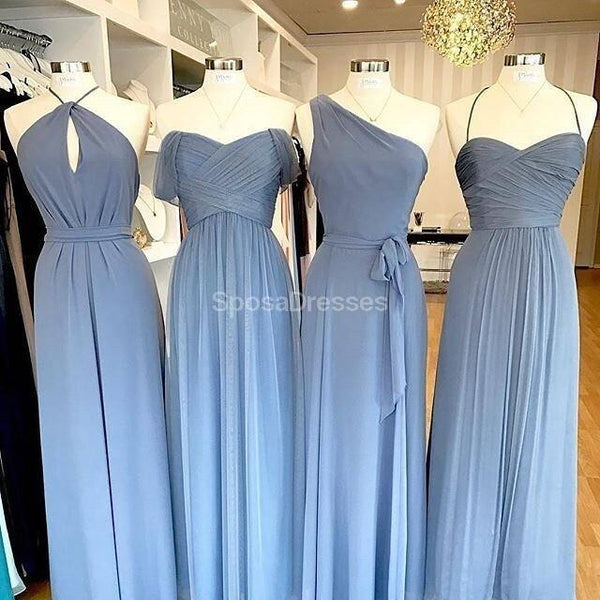Mismatched Chiffon Blue Cheap Long Simple Bridesmaid Dresses Online,  WG725