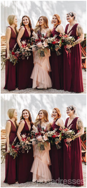 Mismatched Chiffon Red Cheap Long Bridesmaid Dresses Online, WG353