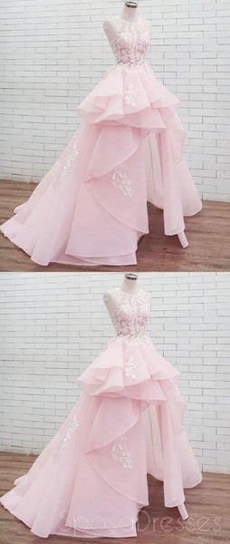 Halter Lace High Low Pink Organza Long Evening Prom Dresses, Cheap Custom Sweet 16 Dresses, 18461