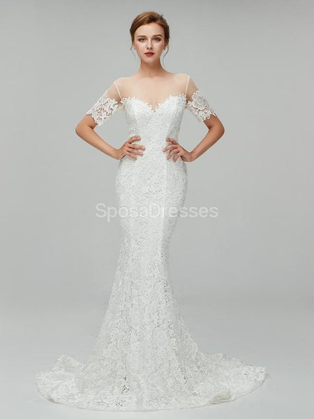 Short Sleeves Lace Mermaid Cheap Wedding Dresses Online, Cheap Bridal Dresses, WD557