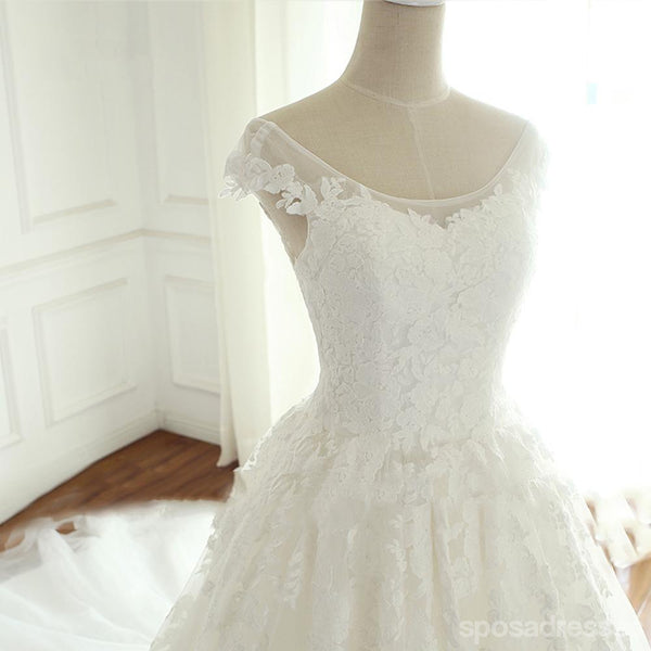 Cap Sleeve Scoop Neckline Lace A line Wedding Bridal Dresses, Cheap Custom Made Wedding Bridal Dresses, WD274