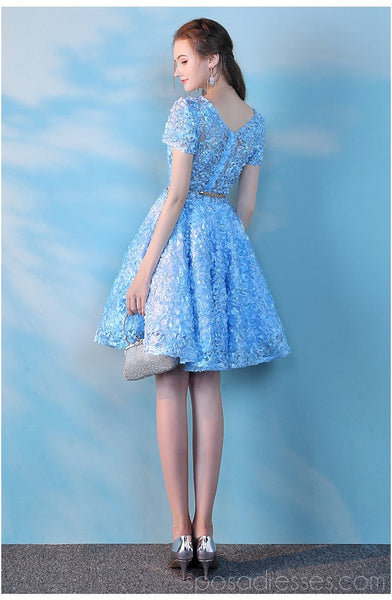 Short Sleeves Blue Lace Cheap Homecoming Dresses Online, Cheap Short Prom Dresses, CM777