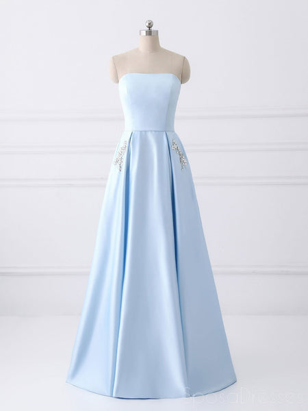 Simple Cheap Strapless Sky Blue Beaded Long Evening Prom & Bridesmaid Dresses, 17348